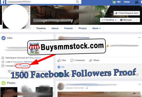 1500 Facebook Followers Proof